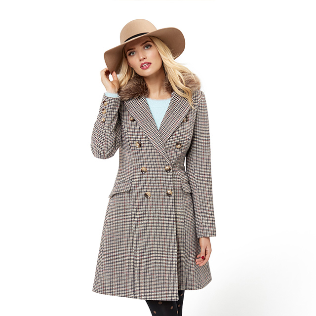 STRIKING NUTMEG CHEQUERED RIALTO COAT