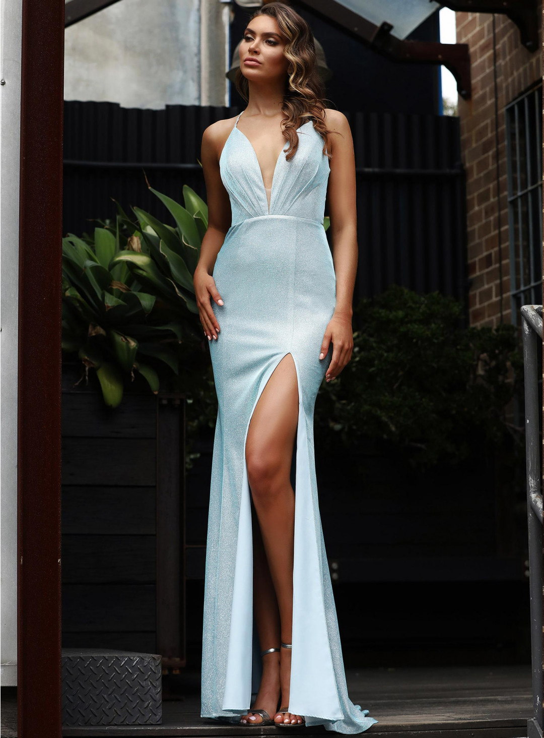 SHIMMERY BLAINE FITTED GOWN